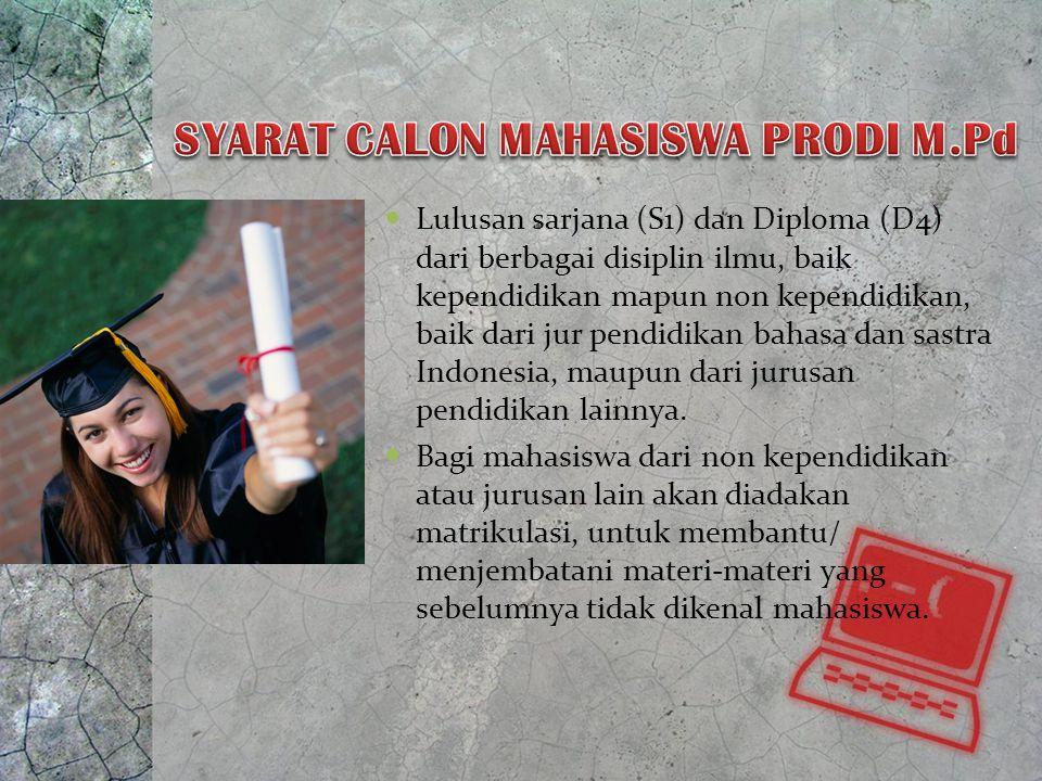 SYARAT CALON MAHASISWA PRODI M.Pd