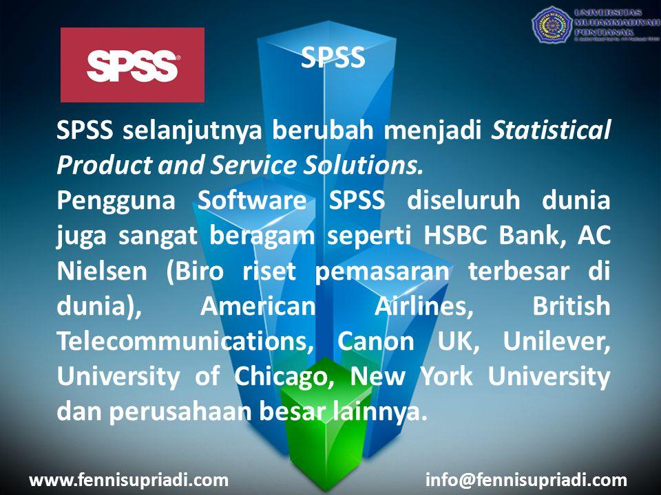 SPSS SPSS selanjutnya berubah menjadi Statistical Product and Service Solutions.