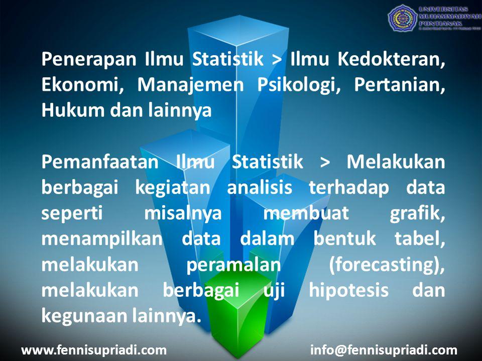 Penerapan Ilmu Statistik > Ilmu Kedokteran, Ekonomi, Manajemen Psikologi, Pertanian, Hukum dan lainnya