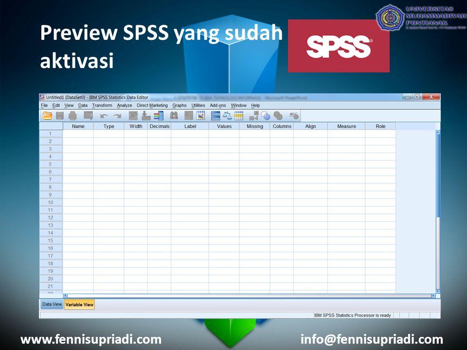 Preview SPSS yang sudah aktivasi