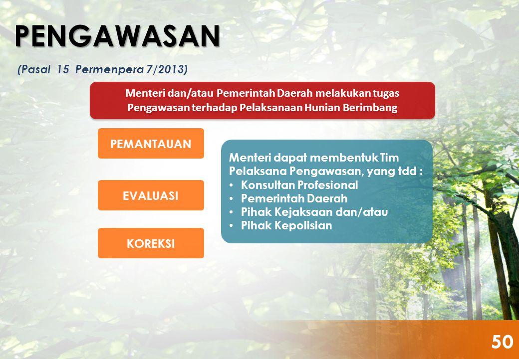 PENGAWASAN (Pasal 15 Permenpera 7/2013) Menteri dan/atau Pemerintah Daerah melakukan tugas Pengawasan terhadap Pelaksanaan Hunian Berimbang.