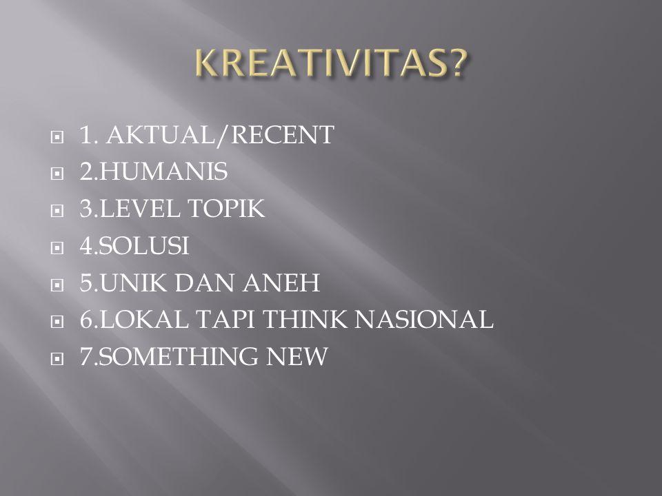 KREATIVITAS 1. AKTUAL/RECENT 2.HUMANIS 3.LEVEL TOPIK 4.SOLUSI