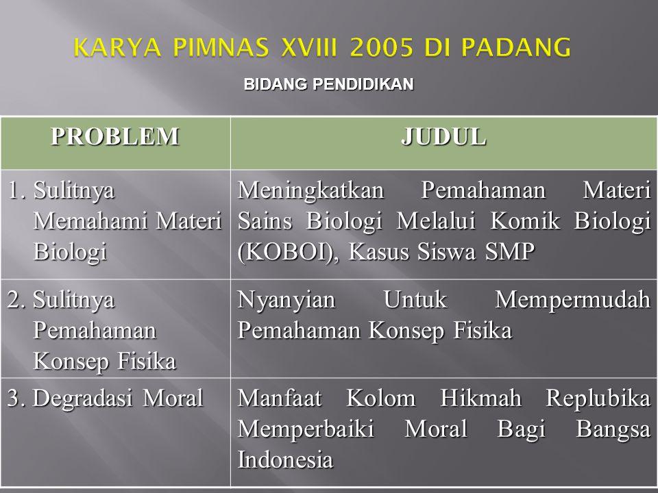 KARYA PIMNAS XVIII 2005 DI PADANG