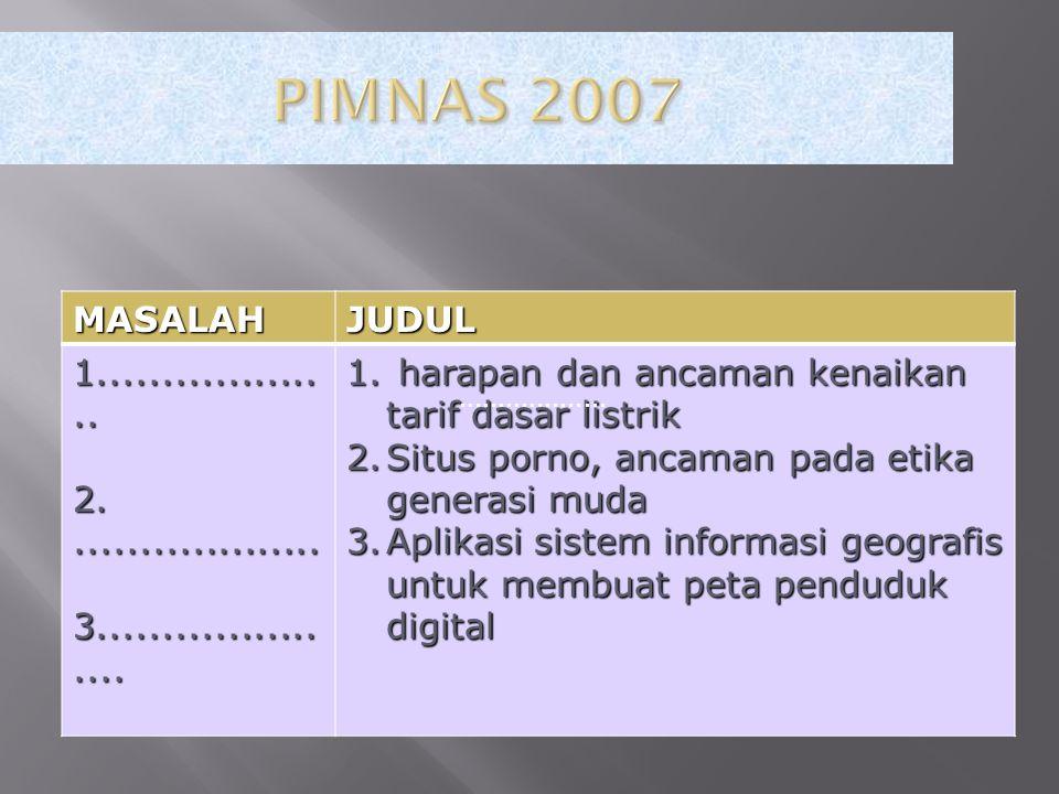 PIMNAS 2007 MASALAH. JUDUL. 1................... 2. ................... 3..................... harapan dan ancaman kenaikan tarif dasar listrik.