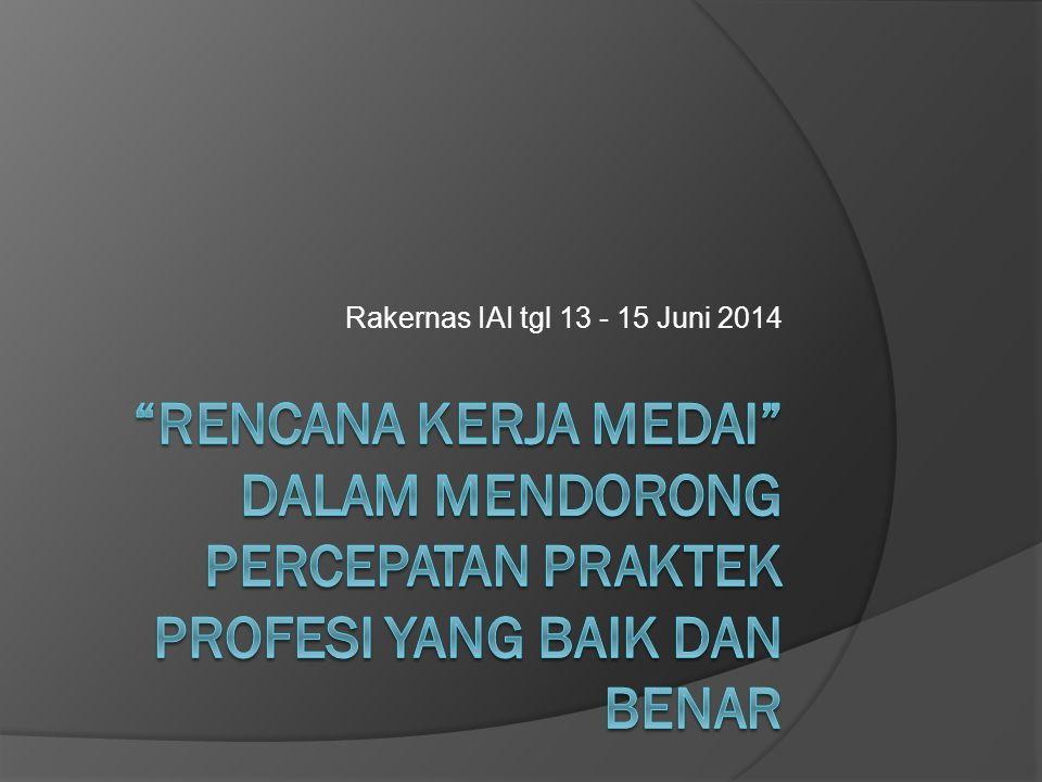 Rakernas IAI tgl 13 - 15 Juni 2014 rencana Kerja MEDAI dalam Mendorong percepatan Praktek Profesi yang Baik dan Benar.