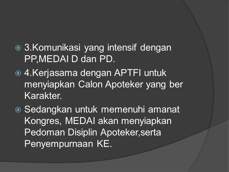 3.Komunikasi yang intensif dengan PP,MEDAI D dan PD.