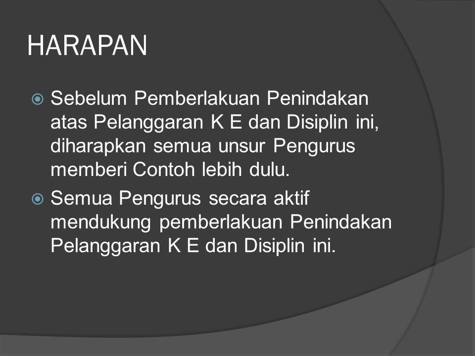 HARAPAN Sebelum Pemberlakuan Penindakan atas Pelanggaran K E dan Disiplin ini, diharapkan semua unsur Pengurus memberi Contoh lebih dulu.