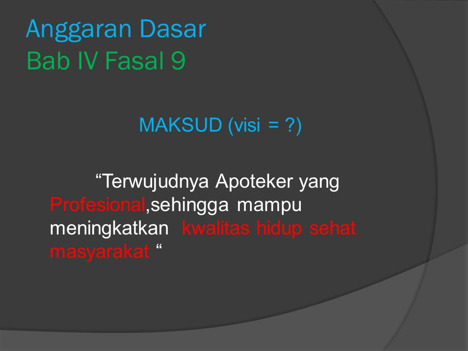 Anggaran Dasar Bab IV Fasal 9