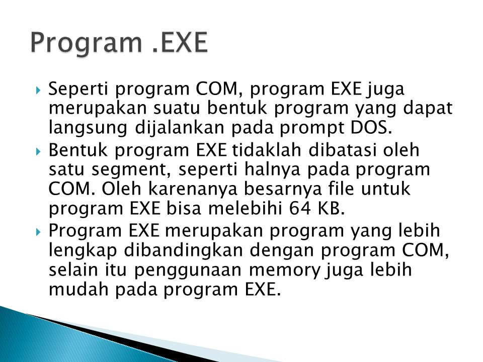 Program .EXE Seperti program COM, program EXE juga merupakan suatu bentuk program yang dapat langsung dijalankan pada prompt DOS.