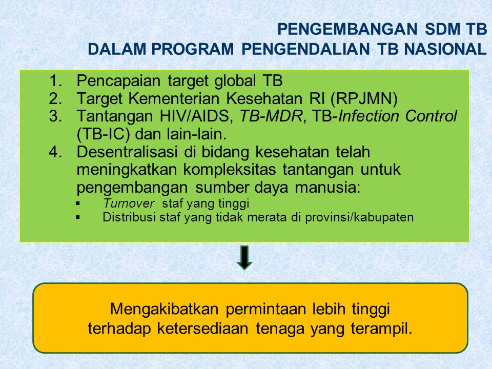 PENGEMBANGAN SDM TB DALAM PROGRAM PENGENDALIAN TB NASIONAL