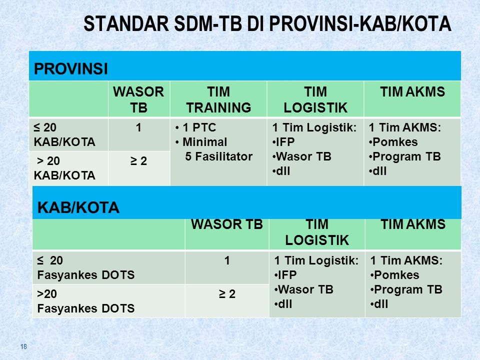 STANDAR SDM-TB DI PROVINSI-KAB/KOTA