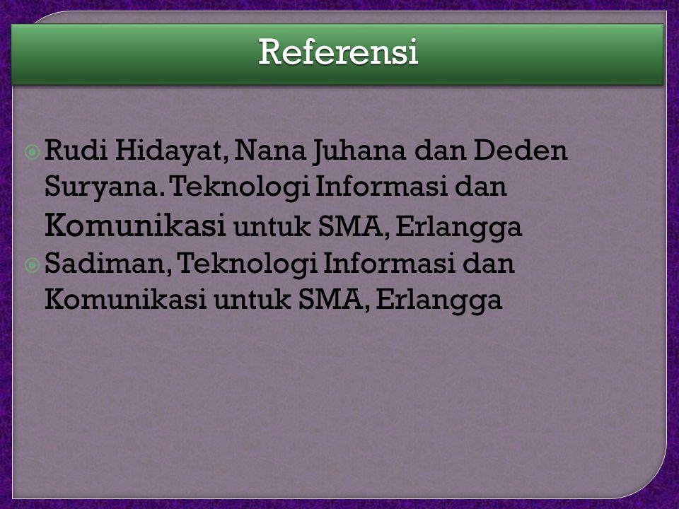 Referensi Rudi Hidayat, Nana Juhana dan Deden Suryana. Teknologi Informasi dan Komunikasi untuk SMA, Erlangga.