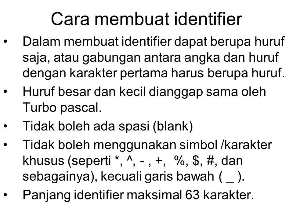 Cara membuat identifier