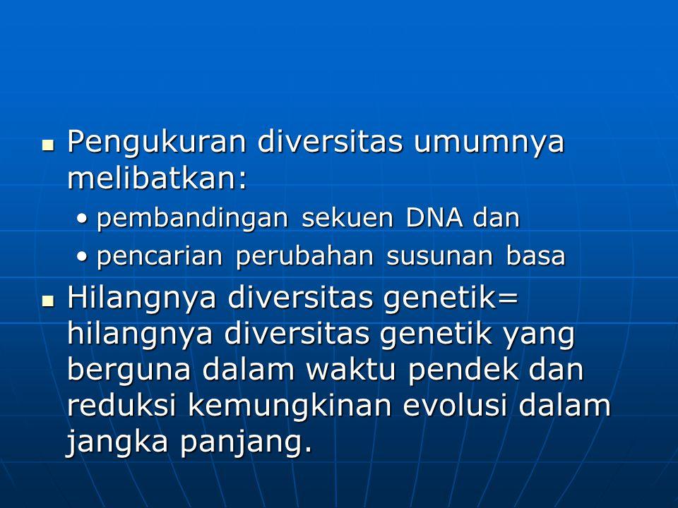 Pengukuran diversitas umumnya melibatkan: