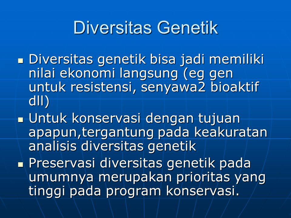 Diversitas Genetik Diversitas genetik bisa jadi memiliki nilai ekonomi langsung (eg gen untuk resistensi, senyawa2 bioaktif dll)