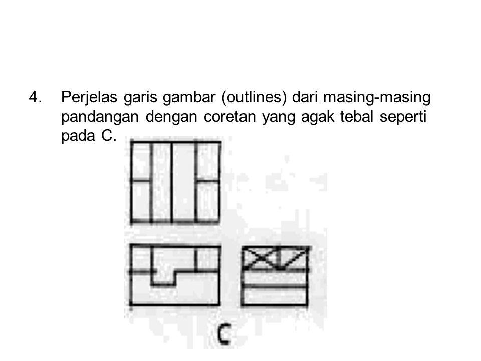 4. Perjelas garis gambar (outlines) dari masing-masing pandangan dengan coretan yang agak tebal seperti pada C.