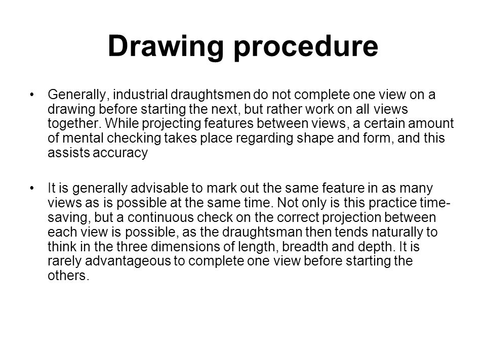 Drawing procedure