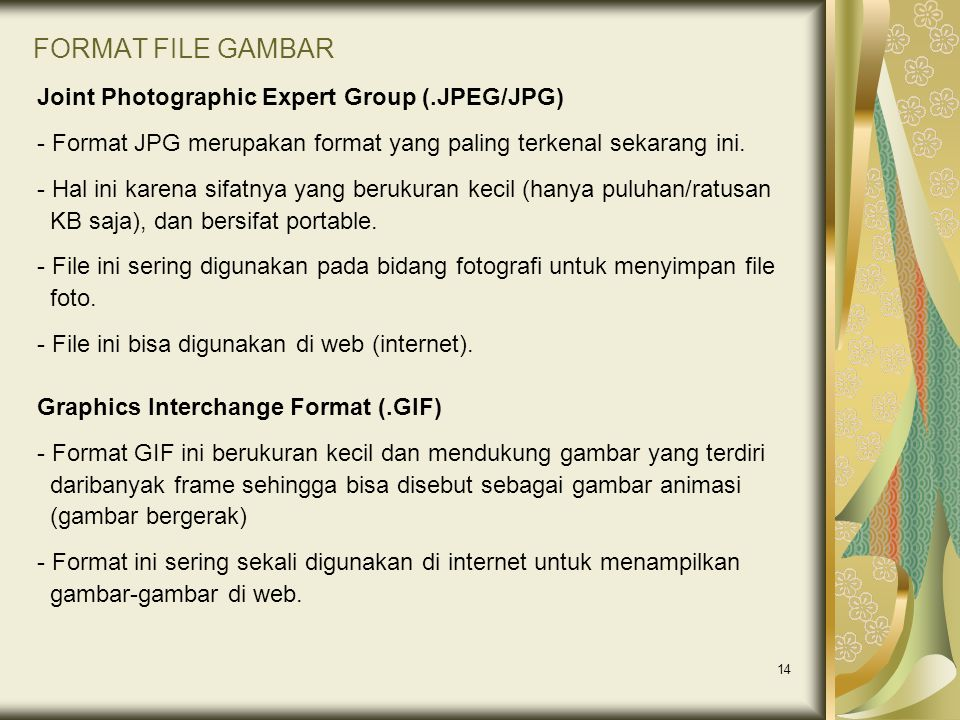 FORMAT FILE GAMBAR Joint Photographic Expert Group (.JPEG/JPG)