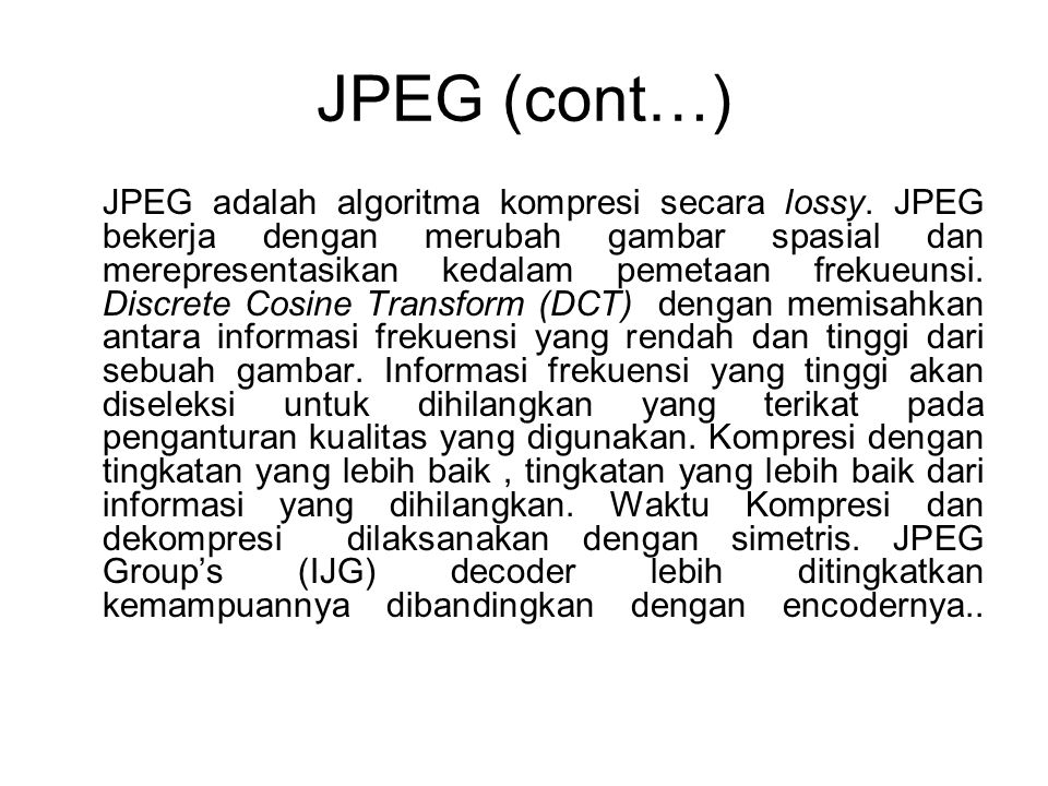 JPEG (cont…)