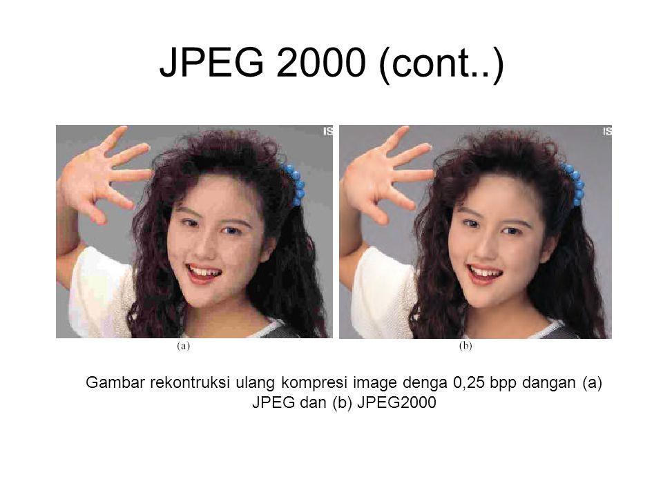 JPEG 2000 (cont..) Gambar rekontruksi ulang kompresi image denga 0,25 bpp dangan (a) JPEG dan (b) JPEG2000.