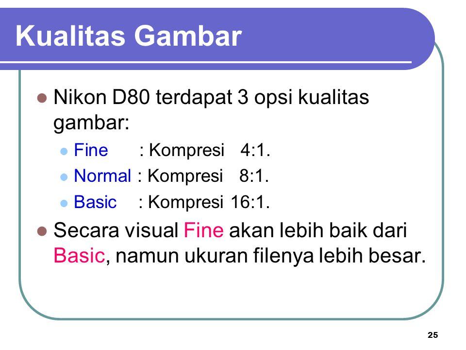 Kualitas Gambar Nikon D80 terdapat 3 opsi kualitas gambar: