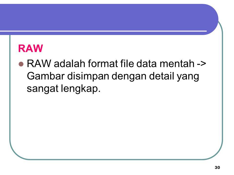 RAW RAW adalah format file data mentah -> Gambar disimpan dengan detail yang sangat lengkap.