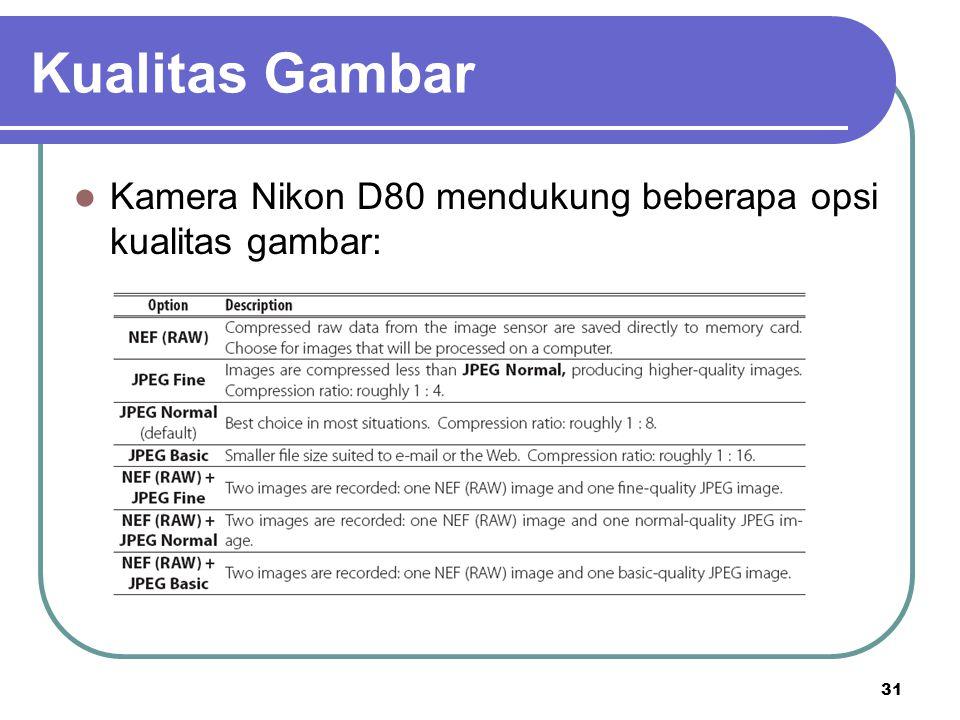 Kualitas Gambar Kamera Nikon D80 mendukung beberapa opsi kualitas gambar: