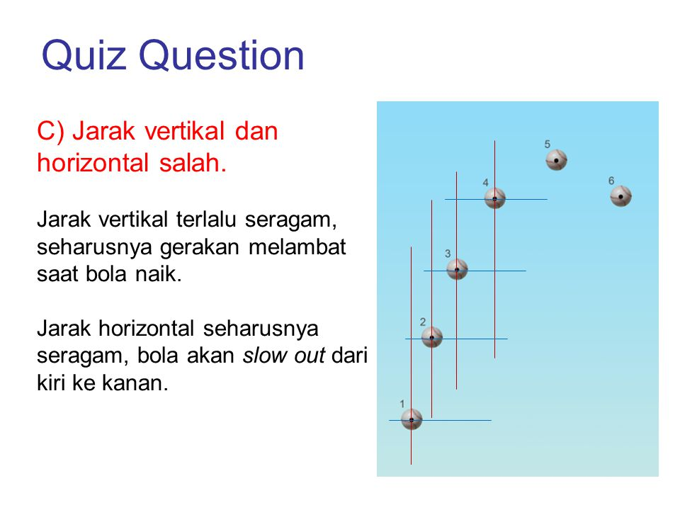 Quiz Question C) Jarak vertikal dan horizontal salah.