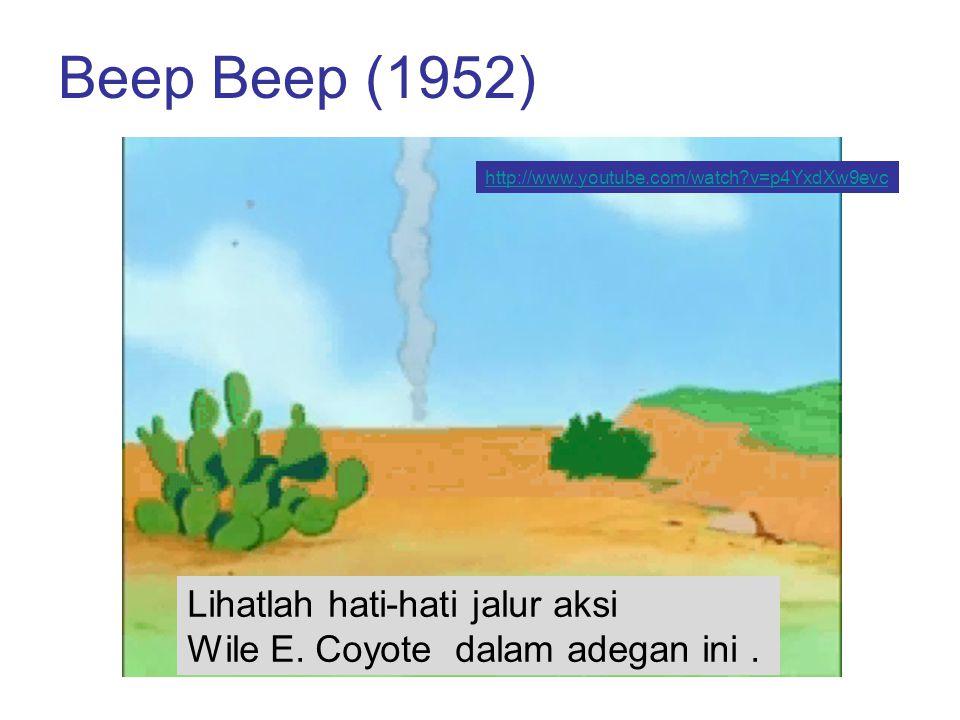 Beep Beep (1952) http://www.youtube.com/watch v=p4YxdXw9evc. Lihatlah hati-hati jalur aksi Wile E. Coyote dalam adegan ini .
