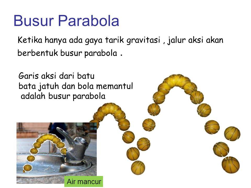 Busur Parabola Ketika hanya ada gaya tarik gravitasi , jalur aksi akan berbentuk busur parabola .