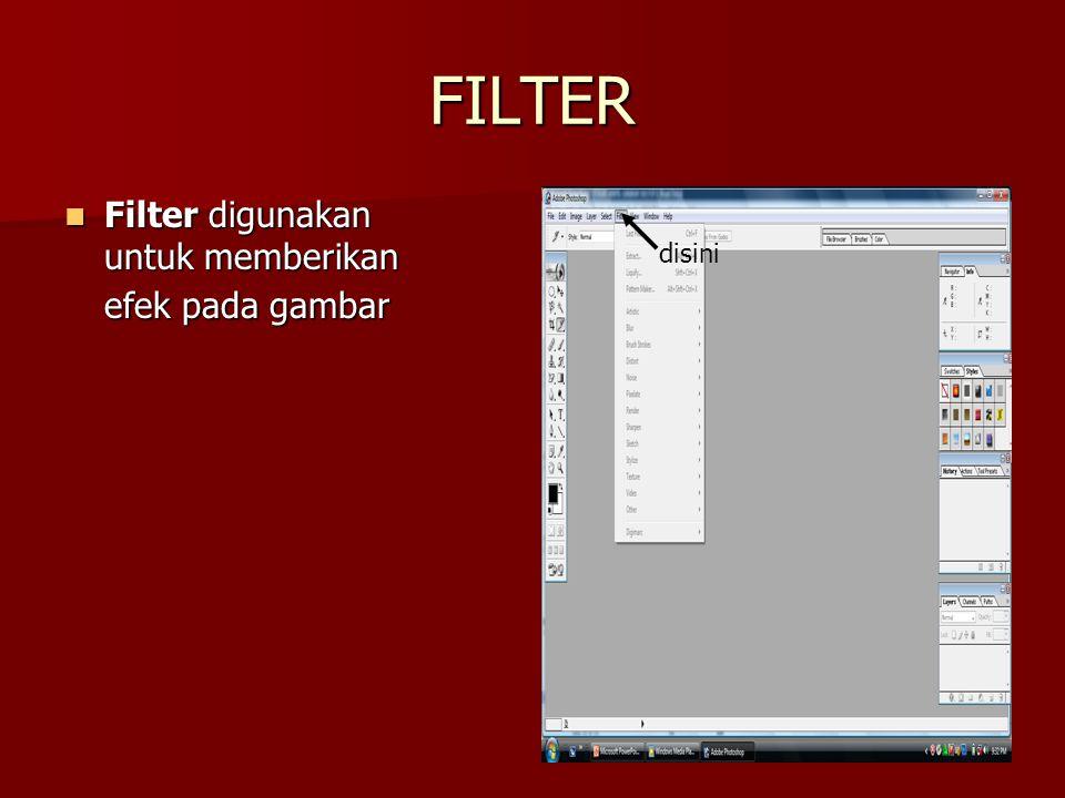 FILTER Filter digunakan untuk memberikan efek pada gambar disini