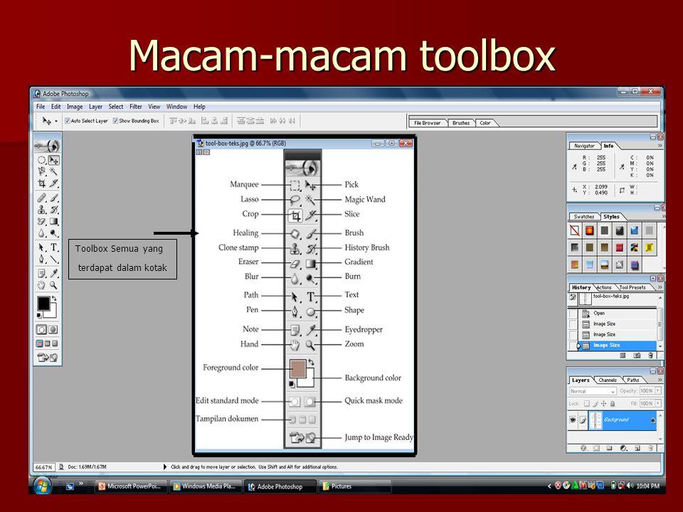 Macam-macam toolbox Toolbox Semua yang terdapat dalam kotak