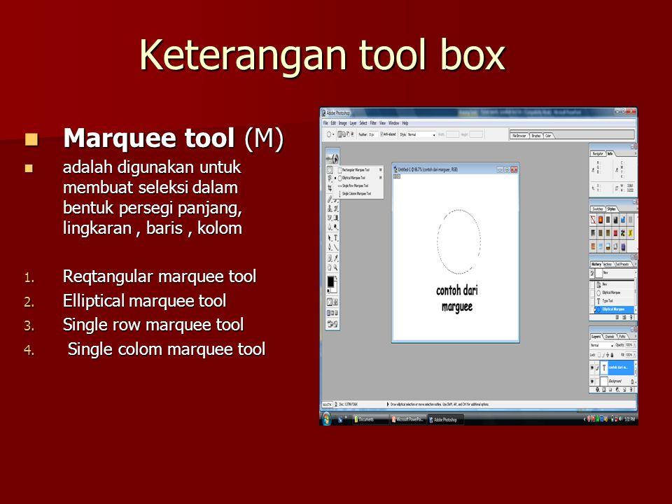 Keterangan tool box Marquee tool (M)