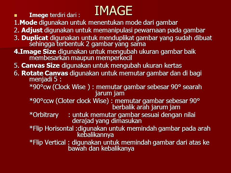 IMAGE 1.Mode digunakan untuk menentukan mode dari gambar