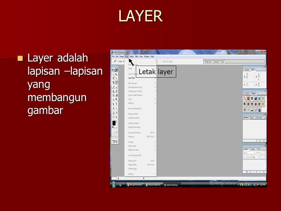 LAYER Layer adalah lapisan –lapisan yang membangun gambar Letak layer