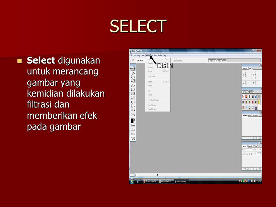 SELECT Select digunakan untuk merancang gambar yang kemidian dilakukan filtrasi dan memberikan efek pada gambar.