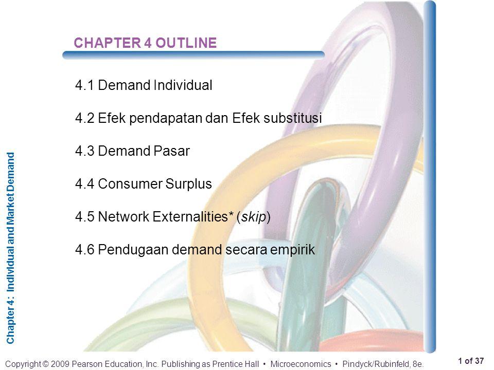 CHAPTER 4 OUTLINE 4.1 Demand Individual. 4.2 Efek pendapatan dan Efek substitusi. 4.3 Demand Pasar.