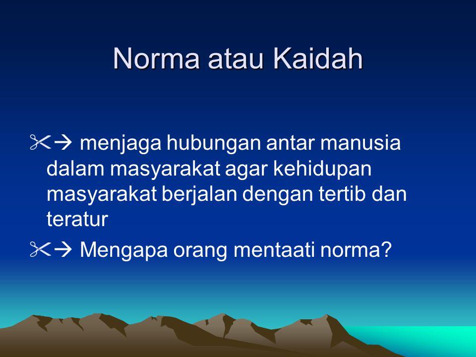 Norma atau Kaidah  menjaga hubungan antar manusia dalam masyarakat agar kehidupan masyarakat berjalan dengan tertib dan teratur.