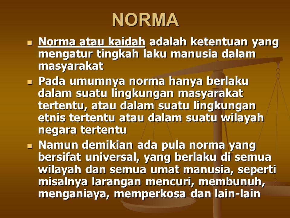 NORMA Norma atau kaidah adalah ketentuan yang mengatur tingkah laku manusia dalam masyarakat.