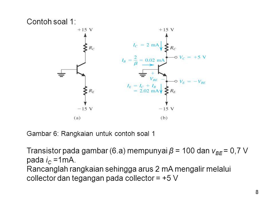 Contoh soal 1: Gambar 6: Rangkaian untuk contoh soal 1. Transistor pada gambar (6.a) mempunyai β = 100 dan vBE = 0,7 V pada iC =1mA.