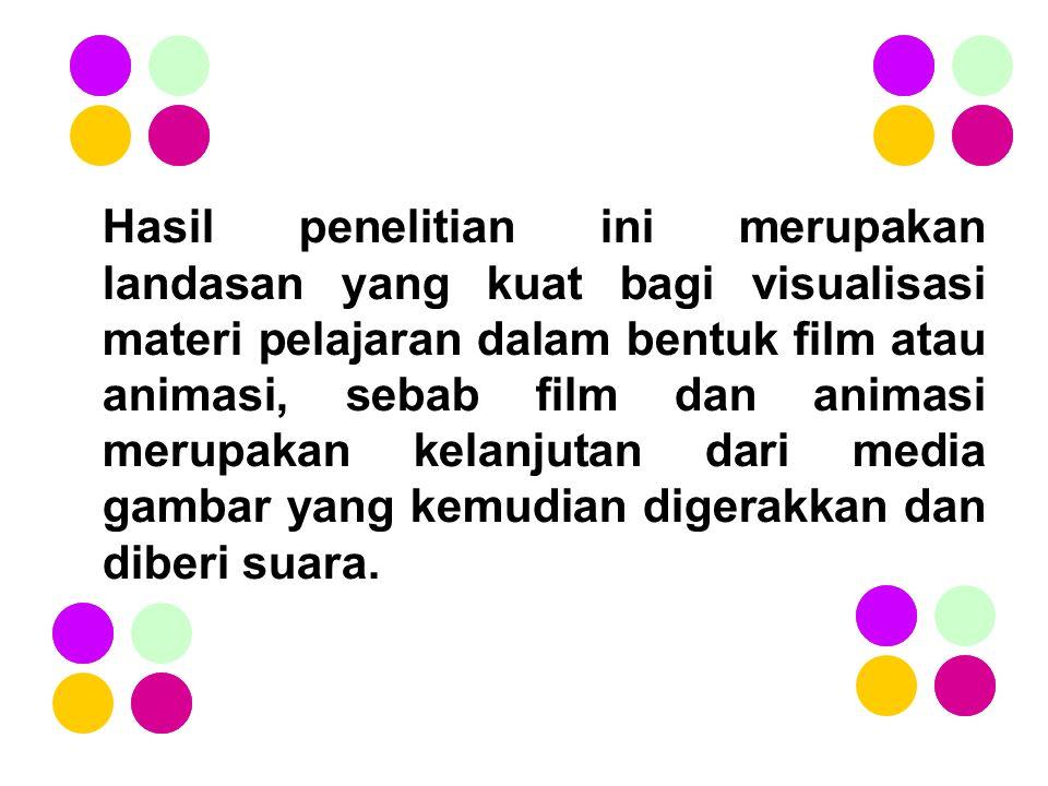 Hasil penelitian ini merupakan landasan yang kuat bagi visualisasi materi pelajaran dalam bentuk film atau animasi, sebab film dan animasi merupakan kelanjutan dari media gambar yang kemudian digerakkan dan diberi suara.