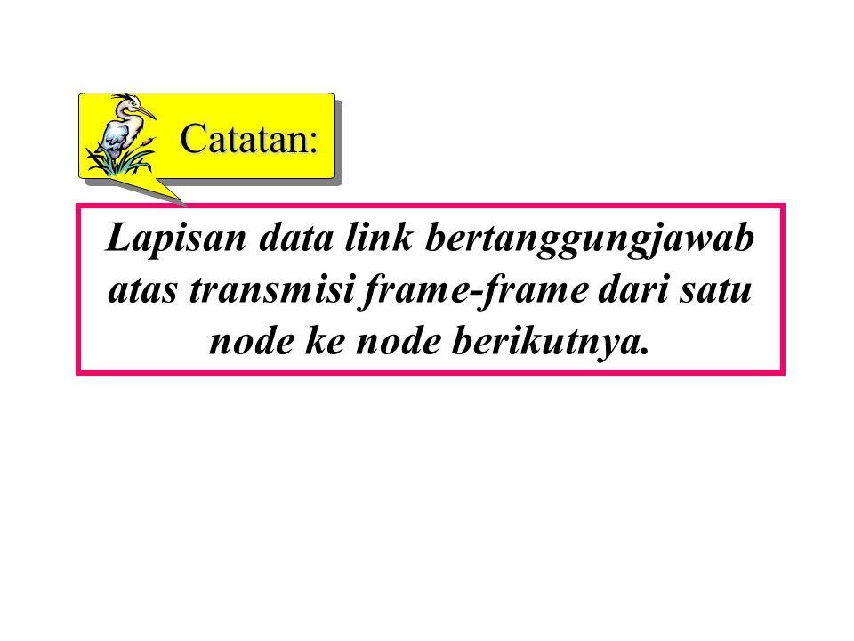 Catatan: Lapisan data link bertanggungjawab atas transmisi frame-frame dari satu node ke node berikutnya.