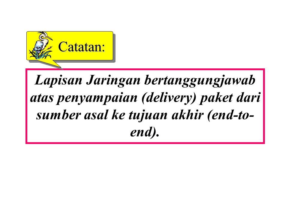 Catatan: Lapisan Jaringan bertanggungjawab atas penyampaian (delivery) paket dari sumber asal ke tujuan akhir (end-to- end).