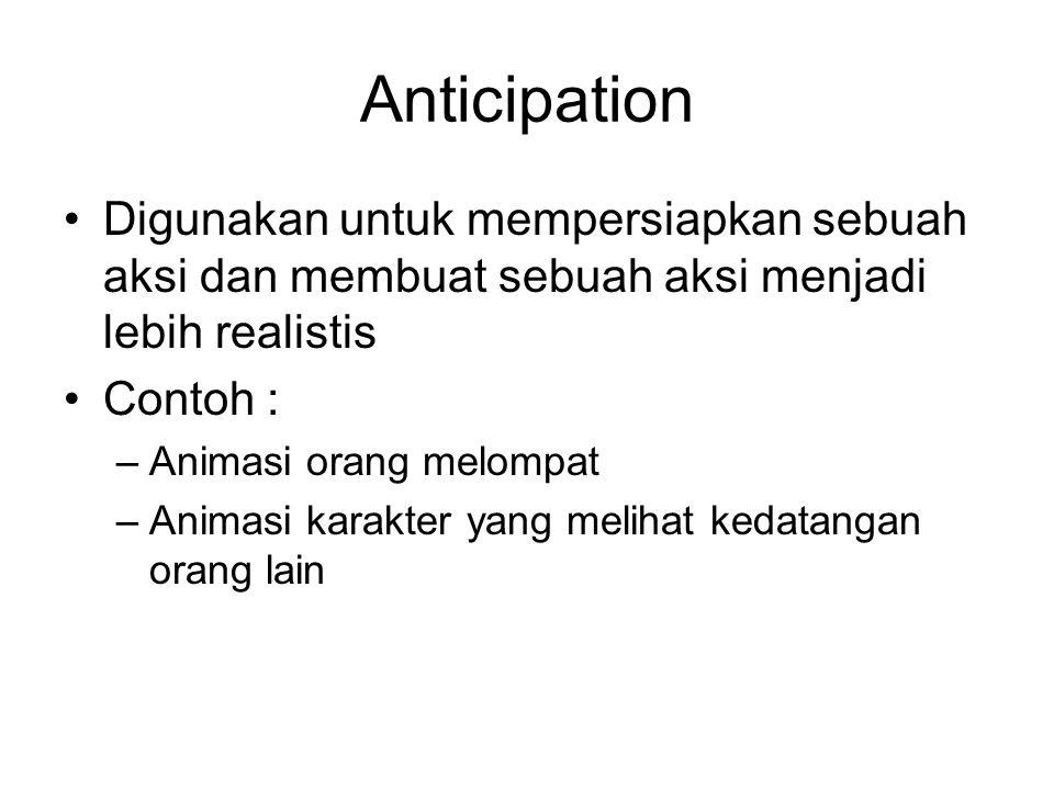 Anticipation Digunakan untuk mempersiapkan sebuah aksi dan membuat sebuah aksi menjadi lebih realistis.