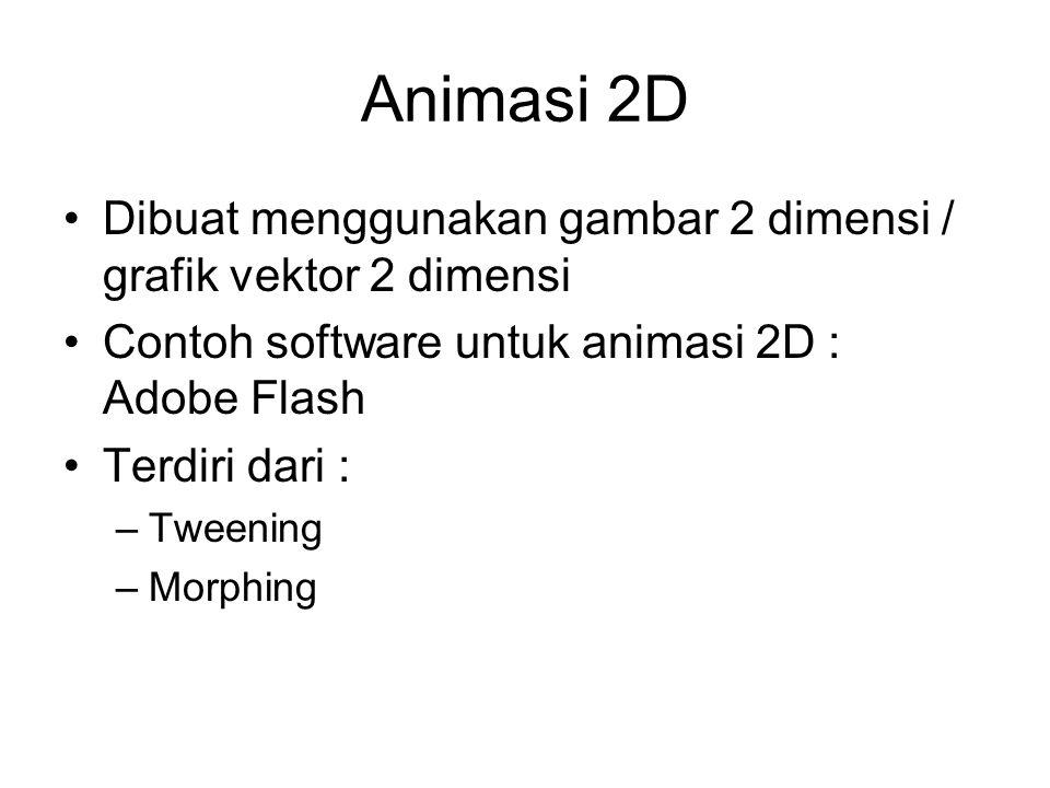 Animasi 2D Dibuat menggunakan gambar 2 dimensi / grafik vektor 2 dimensi. Contoh software untuk animasi 2D : Adobe Flash.