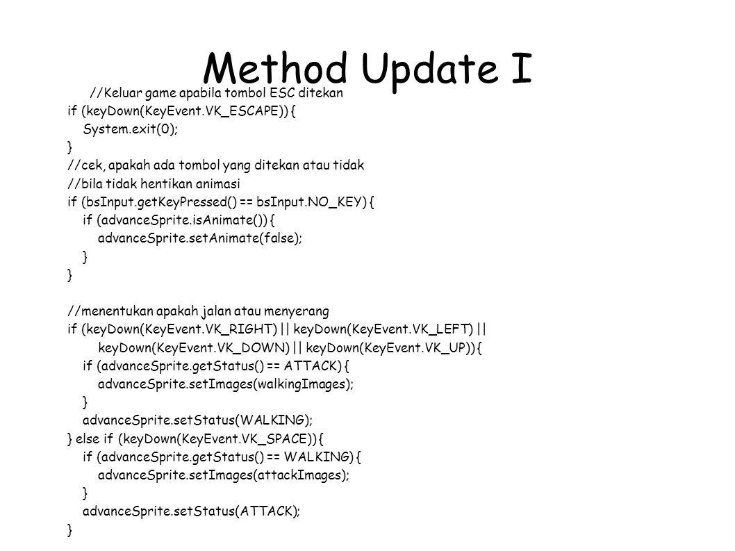 Method Update I //Keluar game apabila tombol ESC ditekan
