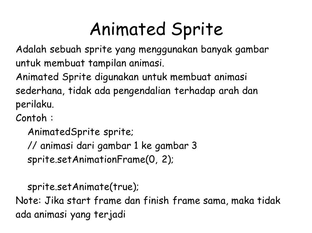 Animated Sprite Adalah sebuah sprite yang menggunakan banyak gambar untuk membuat tampilan animasi.