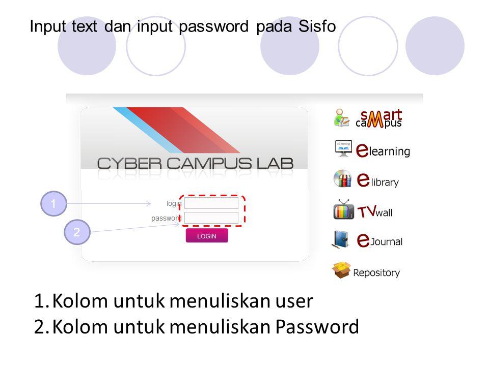 Input text dan input password pada Sisfo