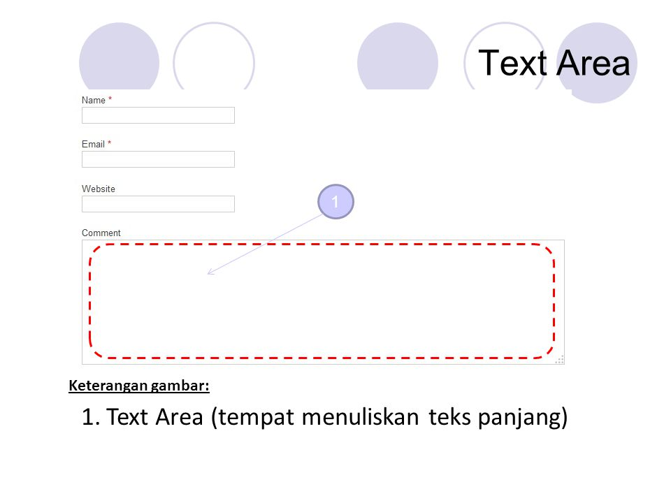 Text Area Text Area (tempat menuliskan teks panjang) 1