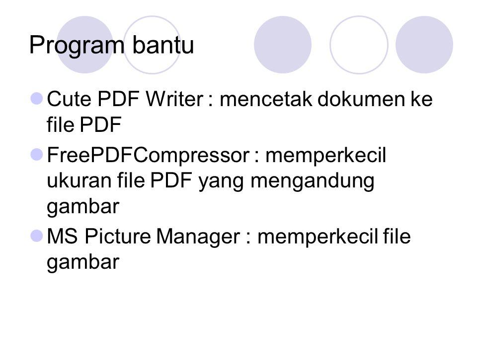 Program bantu Cute PDF Writer : mencetak dokumen ke file PDF